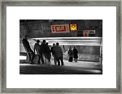 Prague Underground Station Stairs Framed Print