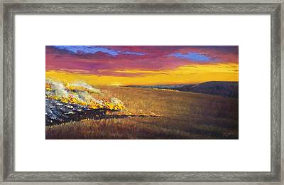 Framed Print featuring the painting Prairie Fire by Rod Seel