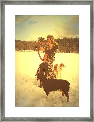 Praise Him With The Harp And All Ye Shepherd Dogs Framed Print by Anastasia Savage Ealy