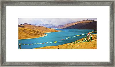 Prayer Flags By Yamdok Yumtso Lake, Tibet Framed Print by Feng Wei Photography