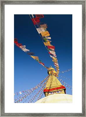 Prayer Flags Wave In The Breeze Framed Print by Michael Melford
