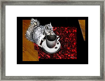 Prayer Over Coffee - Robbie The Squirrel Framed Print