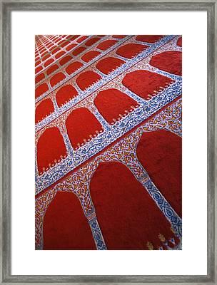Prayer Rug At A Mosque Framed Print by Carson Ganci