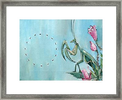 Praying Mantis And Flies In Circle Framed Print by Fabrizio Cassetta