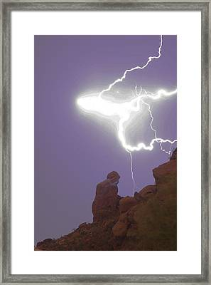 Praying Monk Lightning Halo Monsoon Thunderstorm Photography Framed Print