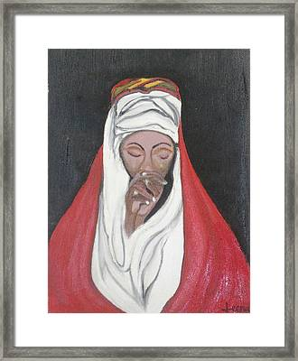 Praying Woman-oil Painting Framed Print by Rejeena Niaz