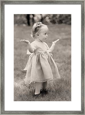 Precious Vintage Girl In Dress Framed Print by Tracie Kaska