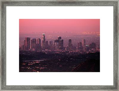 Predawn Light On Downtown Los Angeles. Framed Print by Eric A Norris