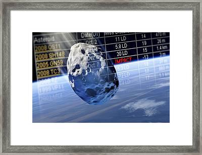 Predicting Asteroid Impact, Artwork Framed Print by Detlev Van Ravenswaay