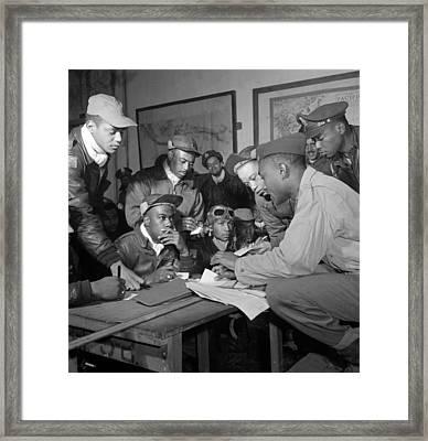Preflight Briefing Of Several Tuskegee Framed Print
