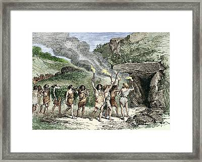 Prehistoric Human Funeral Framed Print by Sheila Terry