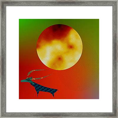 Prehistoric Stag Framed Print by Asok Mukhopadhyay