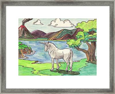 Prehistoric Unicorn Framed Print by Crista Forest