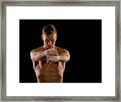 Preparing For The Fight Framed Print by Jim Boardman
