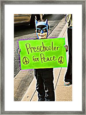 Preschooler For Peace Framed Print by David Thompson