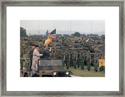 Present Jimmy Carter And Helmut Schmidt Framed Print by Everett