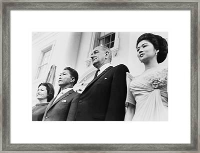 President And Lady Bird Johnson Framed Print by Everett
