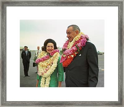 President And Lady Bird Johnson Wearing Framed Print by Everett