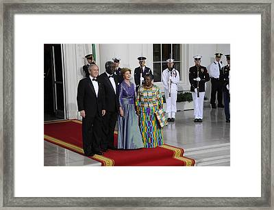 President And Laura Bush Welcome Ghanas Framed Print
