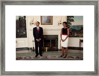 President And Michelle Before The Start Framed Print by Everett