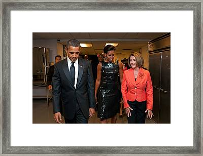 President And Michelle Obama And House Framed Print by Everett