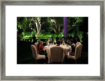 President And Michelle Obama And Indian Framed Print by Everett