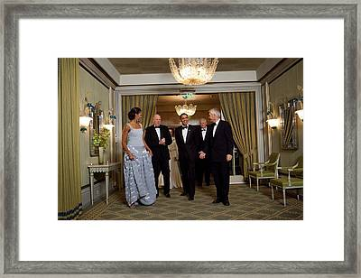 President And Michelle Obama Arrive Framed Print by Everett