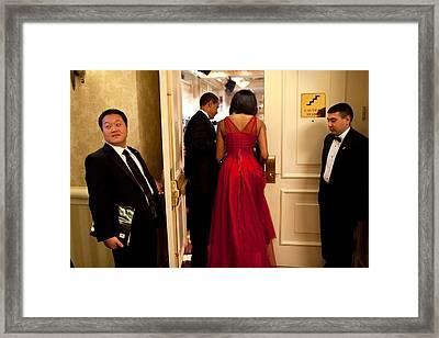 President And Michelle Obama Make Framed Print by Everett