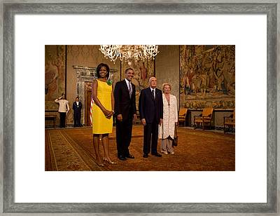 President And Michelle Obama Meet Framed Print by Everett