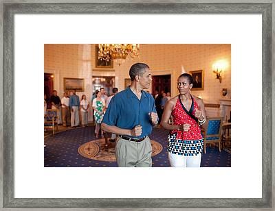 President And Michelle Obama Pretend Framed Print