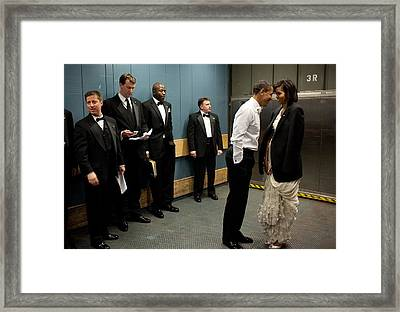 President And Michelle Obama Share Framed Print by Everett