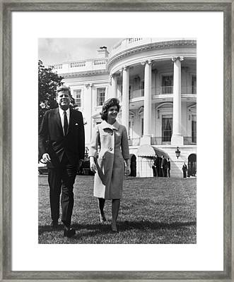 President And Mrs. John F. Kennedy Framed Print