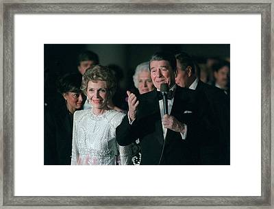 President And Mrs. Reagan Attend Framed Print by Everett