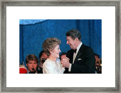 President And Mrs. Reagan Dance Framed Print