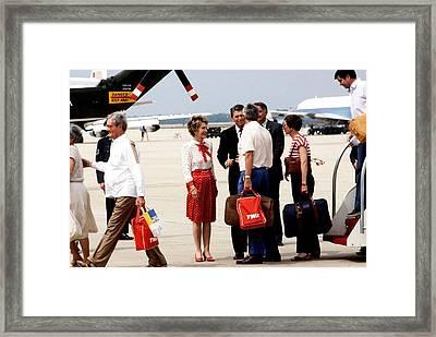 President And Mrs. Reagan Greet Former Framed Print