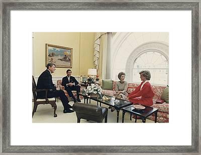 President And Nancy Reagan Having Tea Framed Print by Everett