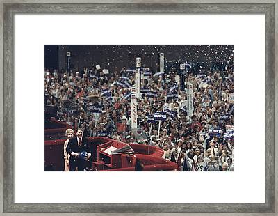 President And Nancy Reagan Receive Framed Print