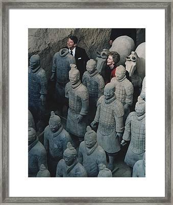 President And Nancy Reagan Standing Framed Print by Everett