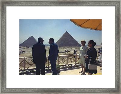 President And Pat Nixon With Anwar Framed Print