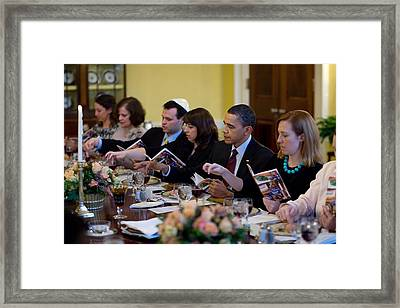 President Barack Obama And The First Framed Print by Everett
