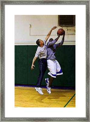 President Barack Obama Blocks A Shot Framed Print