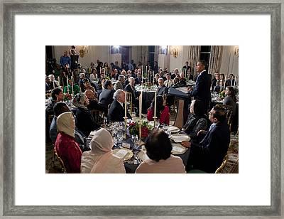 President Barack Obama Delivers Remarks Framed Print