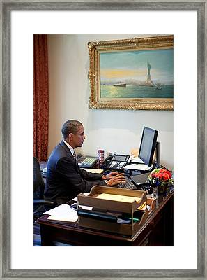 President Barack Obama Does Last-minute Framed Print by Everett