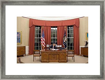 President Barack Obama Edits Framed Print by Everett