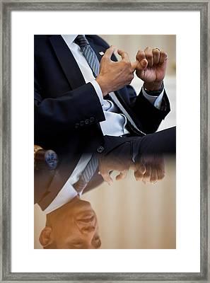 President Barack Obama Gestures Framed Print