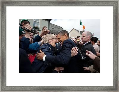 President Barack Obama Greets A Local Framed Print by Everett