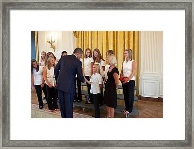 President Barack Obama Greets The 2009 Framed Print