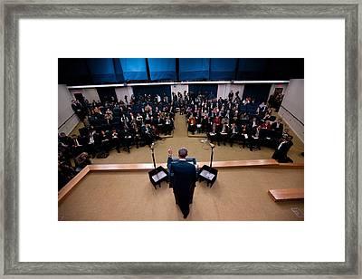 President Barack Obama Holds A Press Framed Print