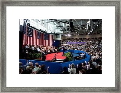 President Barack Obama Holds A Town Framed Print by Everett