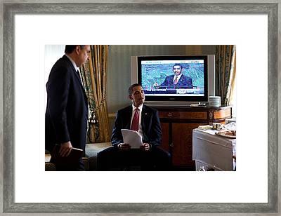 President Barack Obama In Front Framed Print by Everett